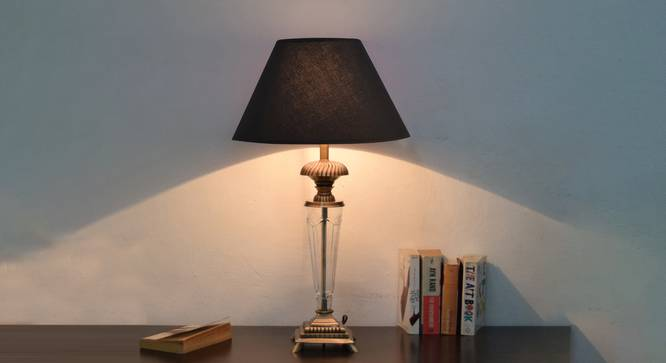 Dolton Table Lamp (Antique Brass, Black Shade Colour, Cotton Shade Material) by Urban Ladder - Design 1 Half View - 303635