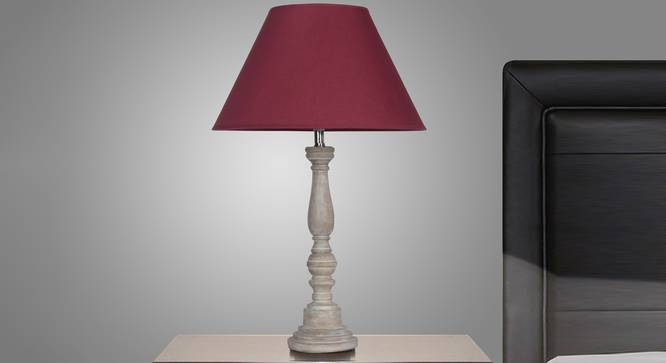 Eden Table Lamp (White, Cotton Shade Material, Maroon Shade Colour) by Urban Ladder - Design 1 Semi Side View - 303881