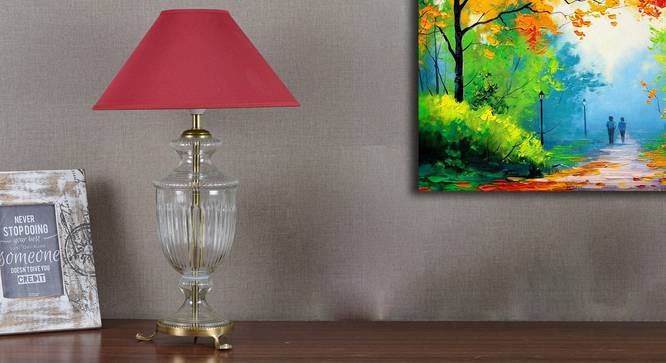 Falcon Table Lamp (Cotton Shade Material, Maroon Shade Colour, Transperant) by Urban Ladder - Design 1 Semi Side View - 303895