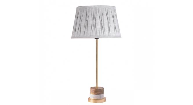 Fegan Table Lamp (Grey Shade Colour, Cotton Shade Material, Brass White) by Urban Ladder - Design 1 Details - 303901