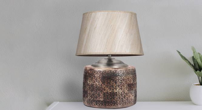 Hector Table Lamp (Brown, Cotton Shade Material) by Urban Ladder - Design 1 Half View - 303960