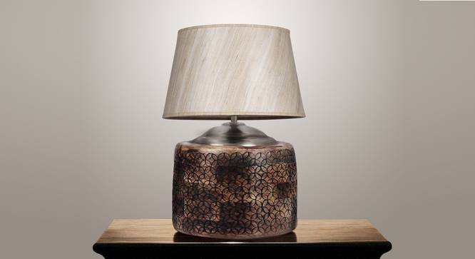 Hector Table Lamp (Brown, Cotton Shade Material) by Urban Ladder - Design 1 Semi Side View - 303961