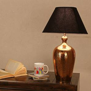 Homer Table Lamp (Copper, Black Shade Colour, Cotton Shade Material) by Urban Ladder - Design 1 Half View - 303987