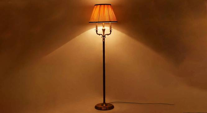 Axel Floor Lamp (Brass, Cotton Shade Material, Off White Shade Colour) by Urban Ladder - Half View Design 1 -