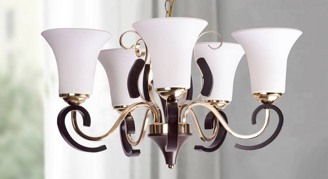 Suki Fusion Chandelier (Gold) by Urban Ladder - Design 1 Semi Side View - 304220