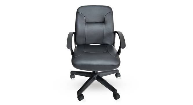 Barry Study Chair (Black Leatherette) by Urban Ladder - Front View Design 1 - 304249