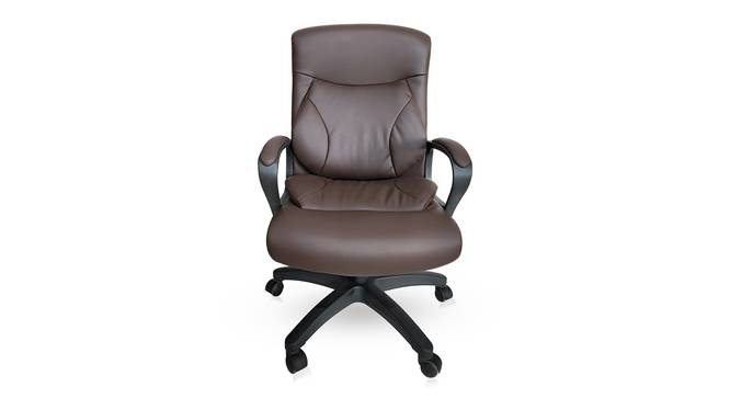 Jean Study Chair (Brown Leatherette) by Urban Ladder - Front View Design 1 - 304255