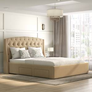 Aspen Upholstered Storage Bed (Queen Bed Size, Beige) by Urban Ladder - Full View - 312592