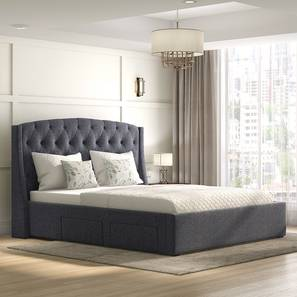 Aspen Upholstered Storage Bed (Grey, Queen Bed Size) by Urban Ladder - Full View - 312590