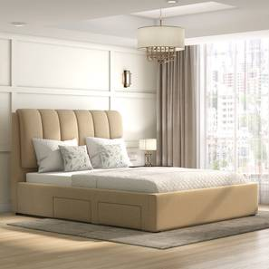 Faroe Upholstered Storage Bed (Queen Bed Size, Beige) by Urban Ladder - Full View - 312594