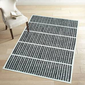 "Sketch Dhurrie (Black, 152 x 244 cm  (60"" x 96"") Carpet Size) by Urban Ladder - Front View Design 1 - 304632"