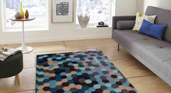 "Carina Carpet (Blue, 91 x 152 cm  (36"" x 60"") Carpet Size) by Urban Ladder - Front View Design 1 - 304815"