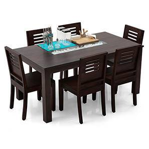Brighton Large - Capra 6 Seater Dining Table Set (Mahogany Finish) by Urban Ladder - Front View Design 1 - 3051