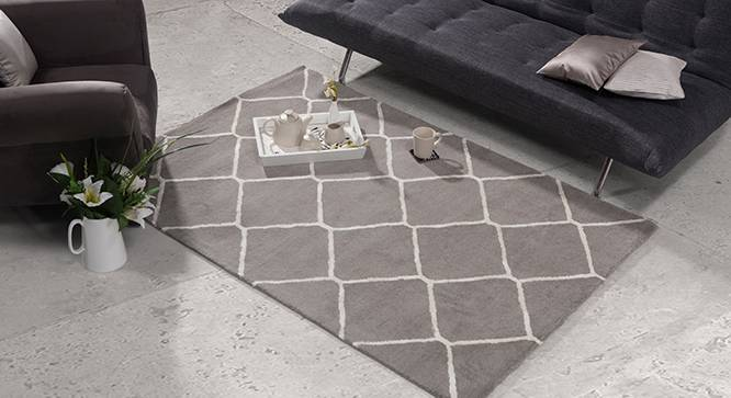 "Virginia Hand Tufted Carpet (Grey, 60'' x 93"" Carpet Size) by Urban Ladder"