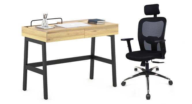 Jeremy - Edmund Study Set (Black, Natural Finish) by Urban Ladder - Design 1 Full View - 305225