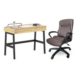 Jeremy - Jean Study Set (Natural Finish, Brown Leatherette) by Urban Ladder - Design 1 Full View - 305235