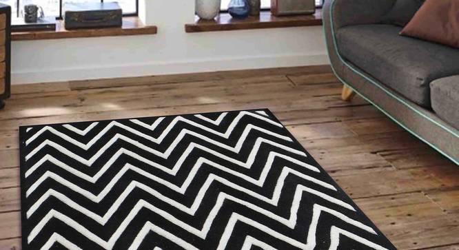 "Renata Carpet (152 x 244 cm  (60"" x 96"") Carpet Size, Black and White) by Urban Ladder - Front View Design 1 - 305469"