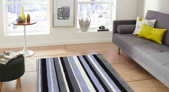 "Selvico Carpet (Black and White, 56 x 140 cm (22"" x 55"") Carpet Size) by Urban Ladder - Front View Design 1 - 306337"