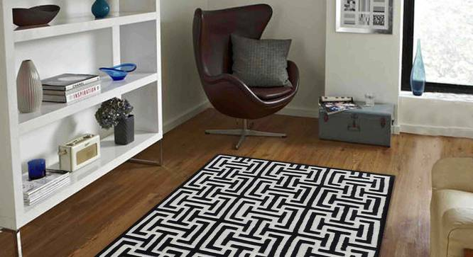 """Judith Carpet (122 x 183 cm  (48"""" x 72"""") Carpet Size, Black and White) by Urban Ladder - Front View Design 1 - 307316"""