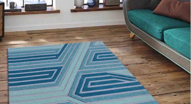 "Marcell Carpet (Blue, 91 x 152 cm  (36"" x 60"") Carpet Size) by Urban Ladder - Front View Design 1 - 307388"