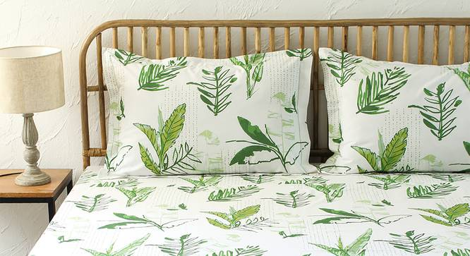 Vanam Bedsheet Set (Green, Fitted Size) by Urban Ladder - Front View Design 1 - 308966