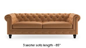 Winchester Half Leather Sofa (Mustard Italian Leather)