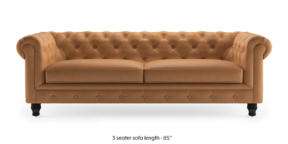 Winchester Half Leather Sofa (Mustard Italian Leather) by Urban Ladder - -