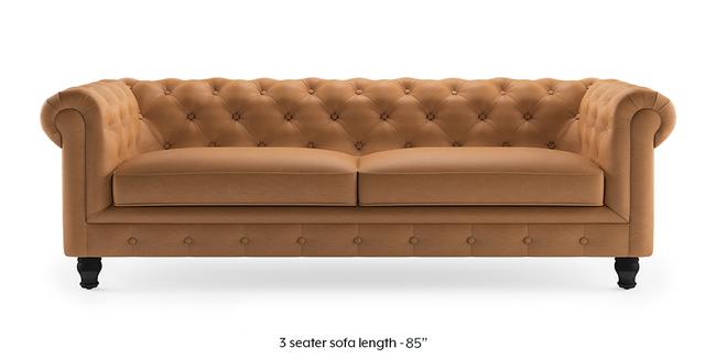 Winchester Half Leather Sofa (Mustard Italian Leather) (1-seater Custom Set - Sofas, None Standard Set - Sofas, Mustard, Regular Sofa Size, Regular Sofa Type, Leather Sofa Material)