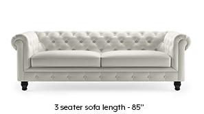 Winchester Half Leather Sofa (White Italian Leather)