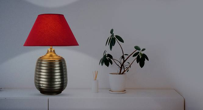 Cyclo Table Lamp (Cotton Shade Material, Maroon Shade Colour, Antique Pewter) by Urban Ladder - Half View Design 1 -