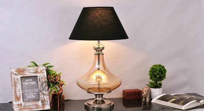 Delicea Table Lamp (Gold, Black Shade Colour, Cotton Shade Material) by Urban Ladder - Half View Design 1 -