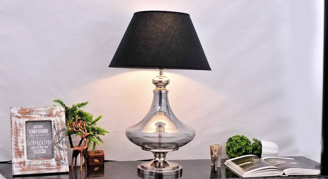 Delicea Table Lamp (Blue, Black Shade Colour, Cotton Shade Material) by Urban Ladder - Half View Design 1 -