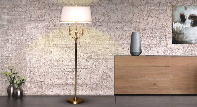 June Floor Lamp (Brass, White Shade Colour, Cotton Shade Material) by Urban Ladder - Half View Design 1 -