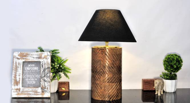 Roman Table Lamp (Brown, Black Shade Colour, Cotton Shade Material) by Urban Ladder - Half View Design 1 -