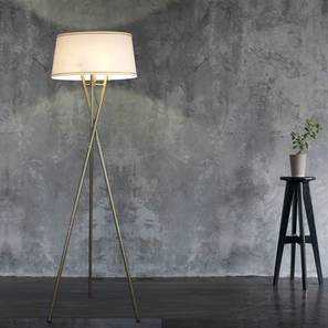 Tenet Floor Tripod Lamp (White Shade Colour, Cotton Shade Material, Antique Pewter Finish) by Urban Ladder - Half View Design 1 -