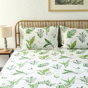 Vanam Bedsheet Set (Green, Double Size) by Urban Ladder - Design 1 Full View - 311000