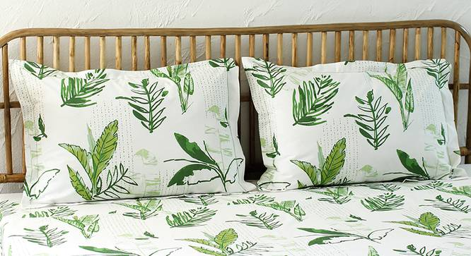 Vanam Bedsheet Set (Green, Fitted Size) by Urban Ladder - Design 1 Full View - 311008