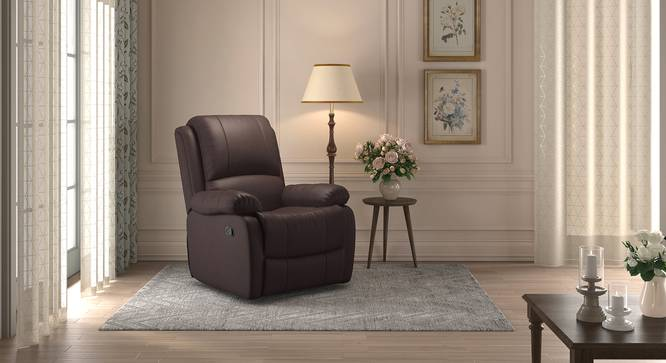 Lebowski Recliner (One Seater, Dark Chocolate Leatherette) by Urban Ladder - Design 1 Full View - 311039