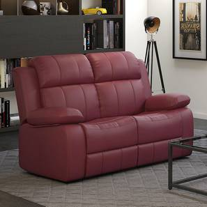 Griffin Recliner (Two Seater, Burgundy Leatherette) by Urban Ladder - Front View Design 1 - 311059