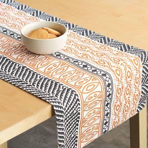 Nakshi Table Runner (Orange, Abstract Design) by Urban Ladder - Front View Design 1 - 312165
