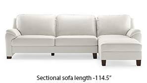 Farina Half Leather Sectional Sofa (White Italian Leather)