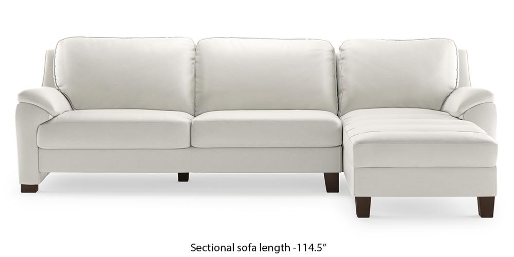 Farina Half Leather Sectional Sofa (White Italian Leather) (White, None Custom Set - Sofas, Right Aligned 3 seater + Chaise Standard Set - Sofas, Regular Sofa Size, Sectional Sofa Type, Leather Sofa Material) by Urban Ladder - - 312188