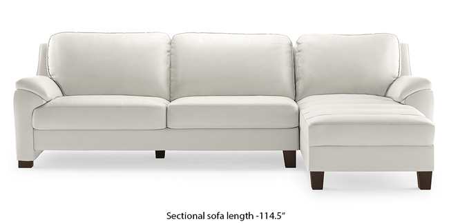Farina Half Leather Sectional Sofa (White Italian Leather) (White, None Custom Set - Sofas, Right Aligned 3 seater + Chaise Standard Set - Sofas, Regular Sofa Size, Sectional Sofa Type, Leather Sofa Material)