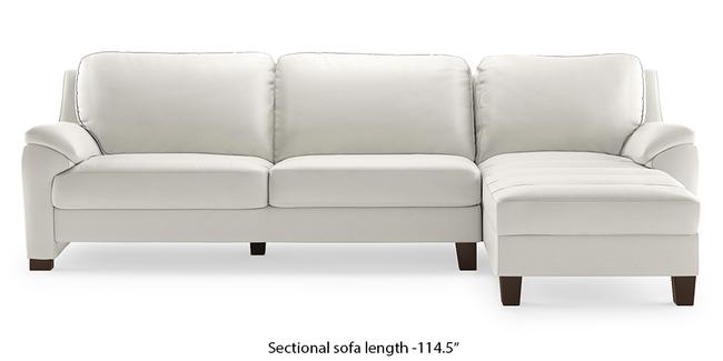 Farina Half Leather Sectional Sofa (White Italian Leather) (White, None Custom Set - Sofas, Right Aligned 3 seater + Chaise Standard Set - Sofas, Regular Sofa Size, Sectional Sofa Type, Leather Sofa Material)