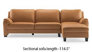 Farina Half Leather Sectional Sofa (Mustard Italian Leather)