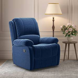 Lebowski Recliner (One Seater, Cobalt Fabric) by Urban Ladder - Design 1 Full View - 312212