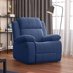 Griffin Recliner (One Seater, Lapis Blue Fabric) by Urban Ladder - Design 1 Full View - 312559