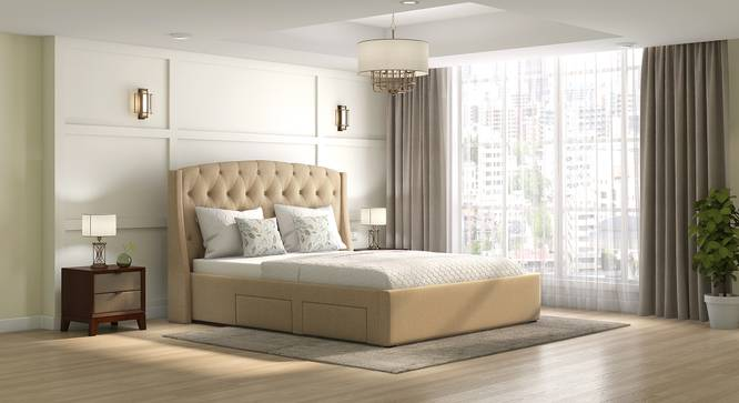 Aspen Upholstered Storage Bed (King Bed Size, Beige) by Urban Ladder - Full View - 312591