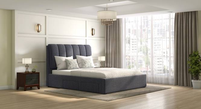 Faroe Upholstered Storage Bed (Grey, King Bed Size) by Urban Ladder - Full View - 312596