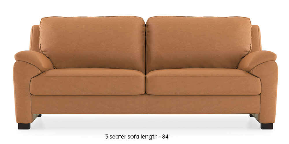 Farina Half Leather Sofa (Mustard Italian Leather) by Urban Ladder - -